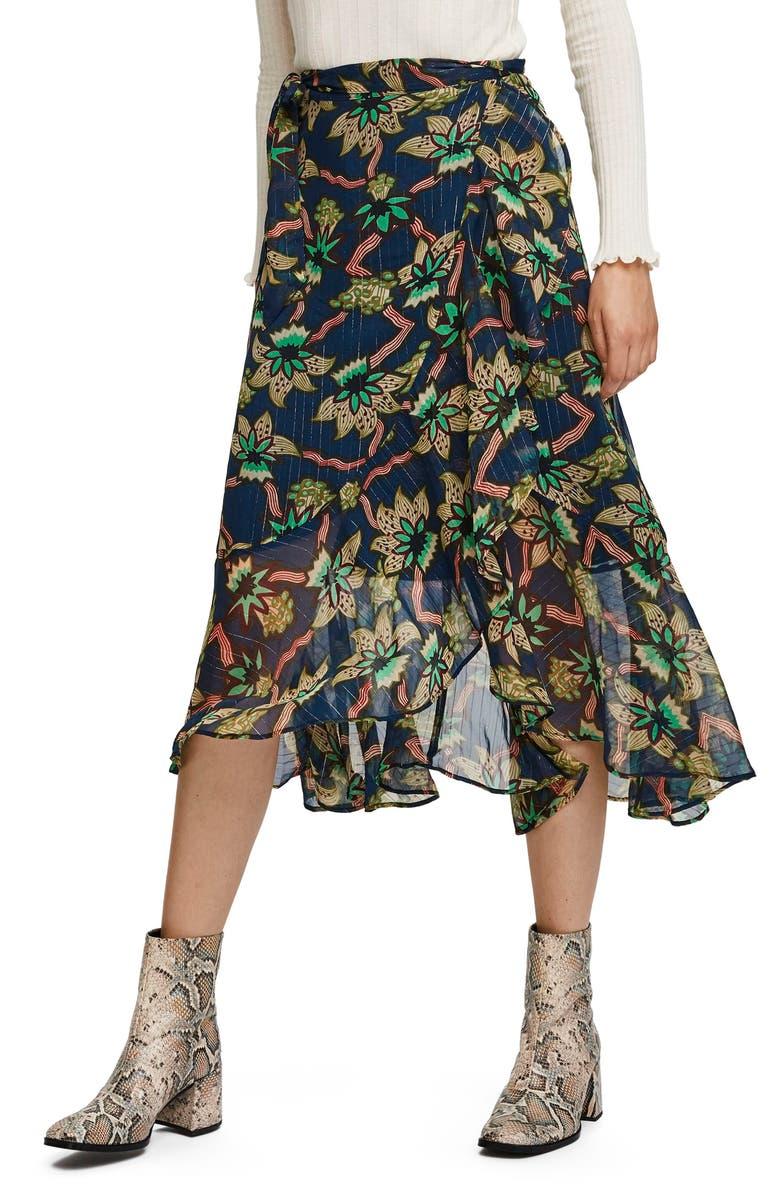 SCOTCH & SODA Metallic Stripe Floral Wrap Midi Skirt, Main, color, 400