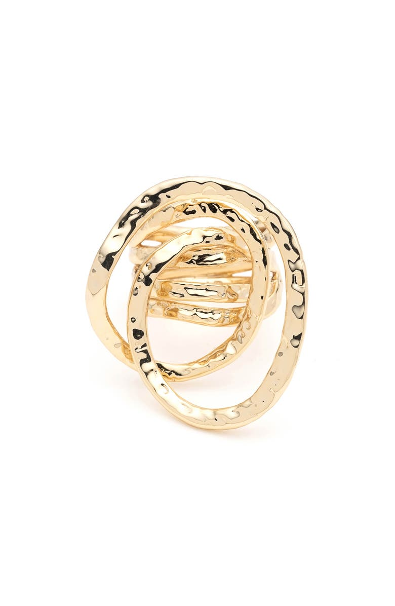 ALEXIS BITTAR Hammered Coil Link Ring, Main, color, GOLD