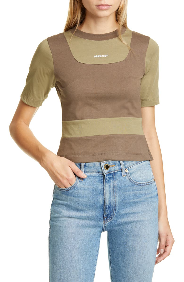 AMBUSH Fitted Patchwork Tee, Main, color, OLIVE