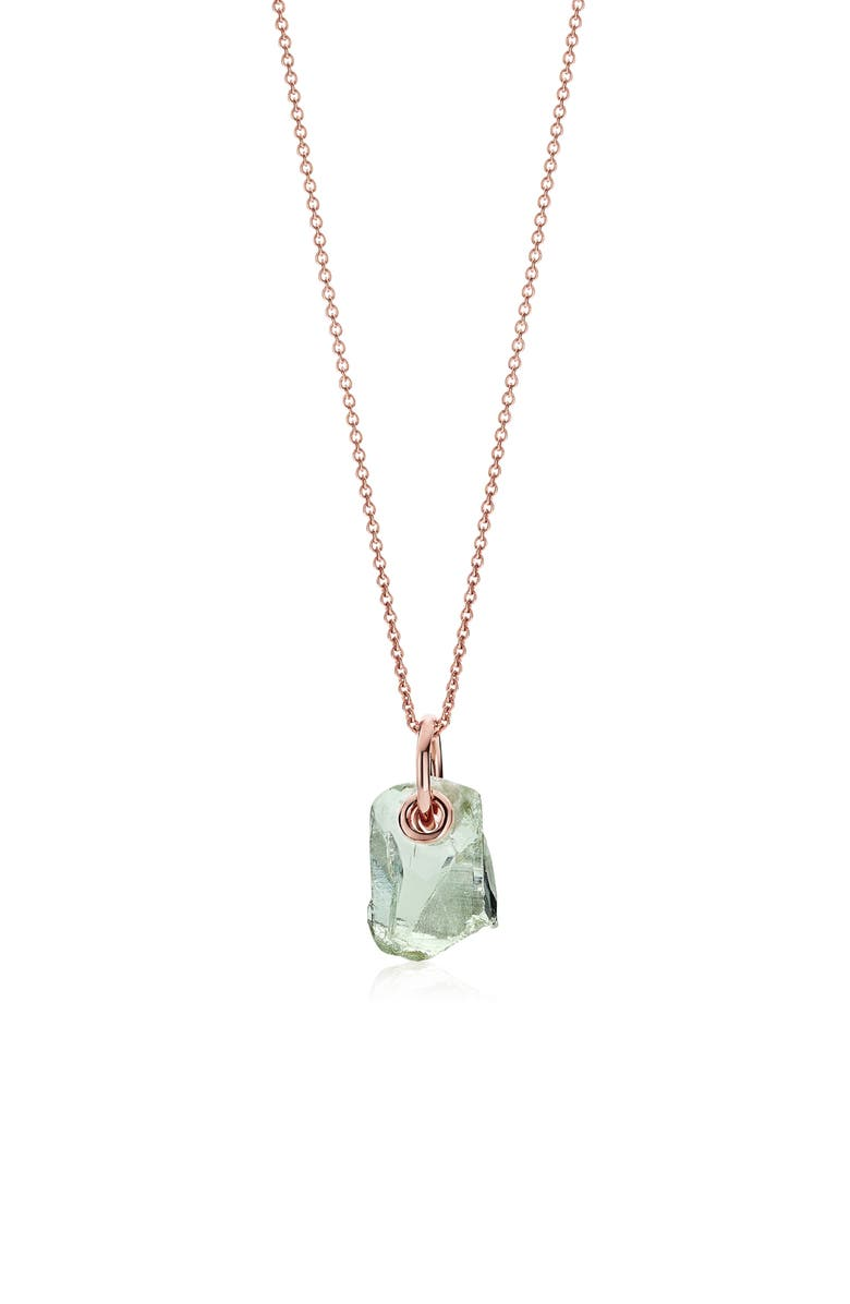 MONICA VINADER x Caroline Issa Green Amethyst Pendant Necklace, Main, color, ROSE GOLD/ GREEN AMETHYST