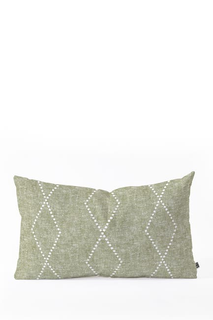 Image of Deny Designs Little Arrow Design Co Geo Boho Diamonds Olive Oblong Throw Pillow