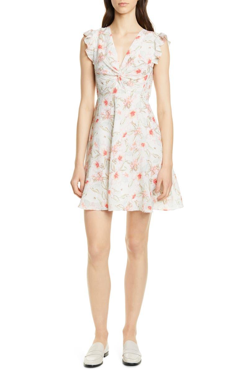 REBECCA TAYLOR Kamea Stretch Silk Dress, Main, color, SNOW COMBO