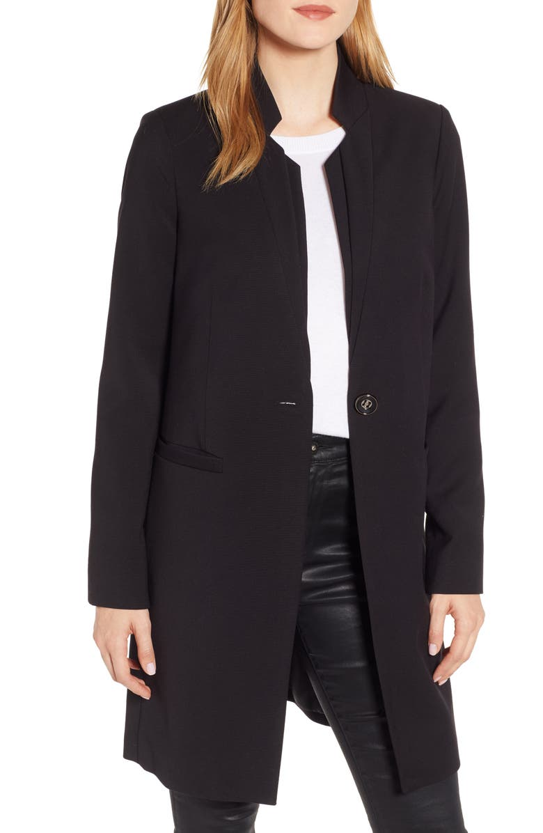 KENNETH COLE NEW YORK Inverted Collar Ponte Coat, Main, color, 001