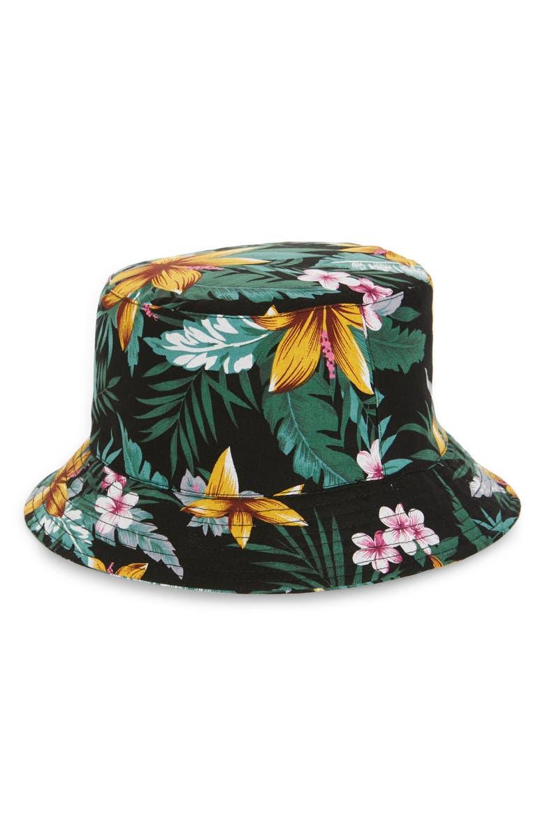 TROUVÉ Print Bucket Hat, Main, color, BLACK TROPICAL PRINT