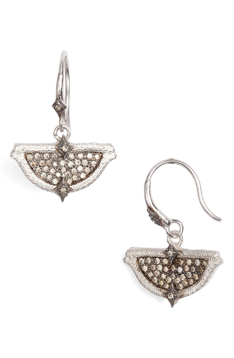 ARMENTA New World Half-Circle Pointed Pavé Earrings, Main, color, SILVER