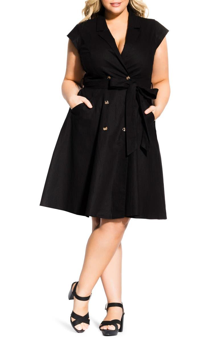 CITY CHIC Lafayette Linen & Cotton Dress, Main, color, BLACK