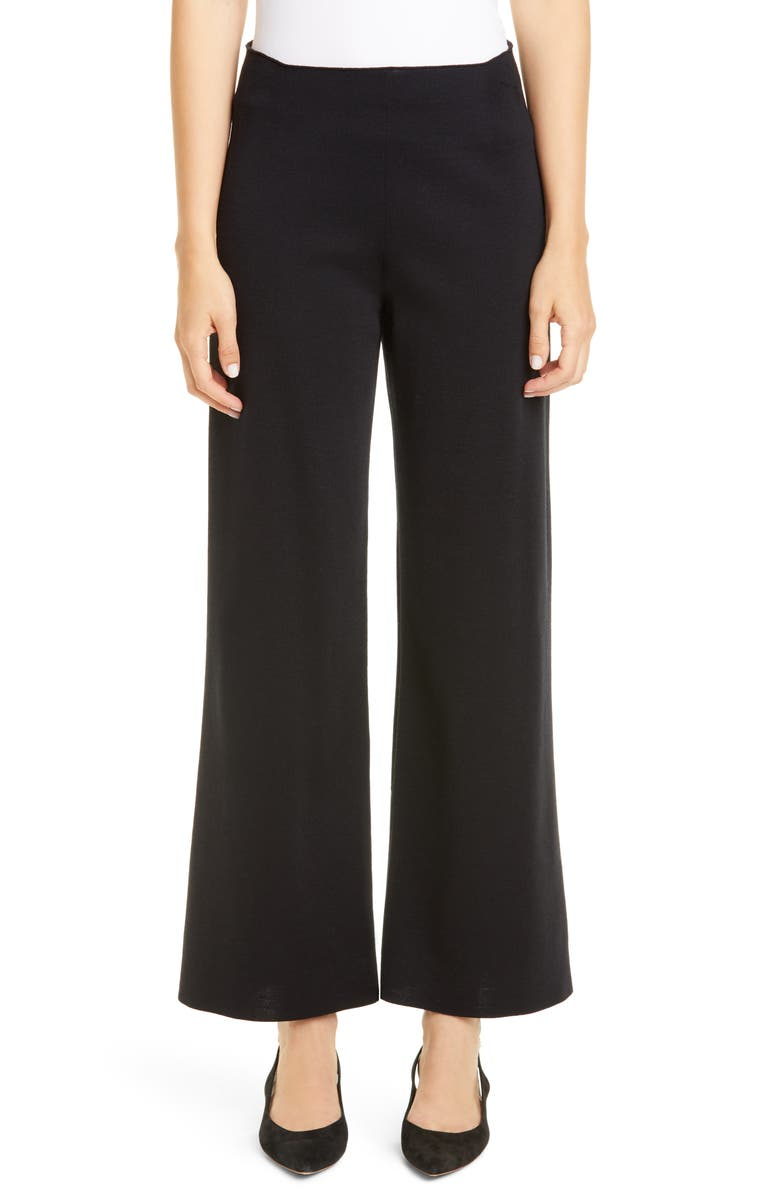 MANSUR GAVRIEL Milano Knit Stretch Wool Trousers, Main, color, BLACK