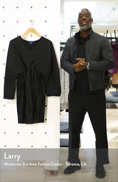Long Sleeve Crinkle Pleat Cocktail Dress, sales video thumbnail