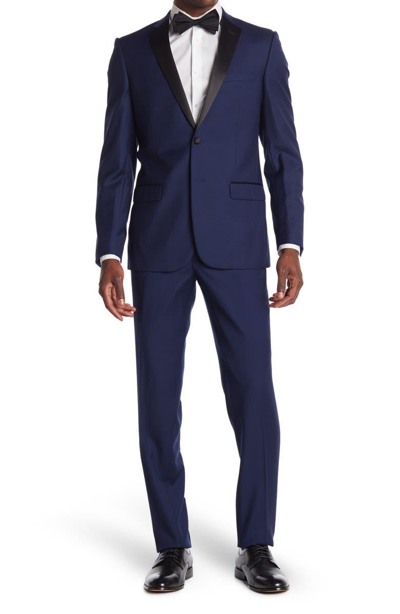 ZANETTI Sienna Slim Fit Notch Collar Tuxedo, Main, color, NEW BLUE