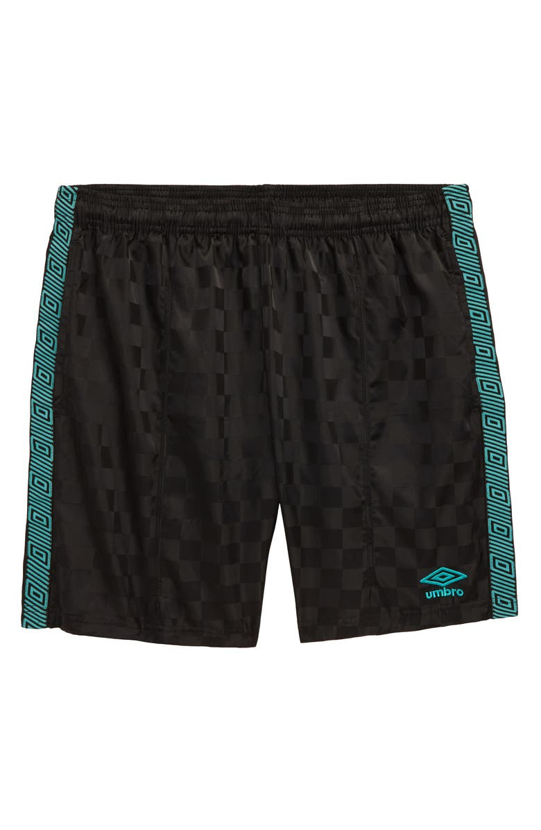 UMBRO Checkerboard Diamond Shorts, Main, color, MEDIUM GREY HEATHER/ MINT