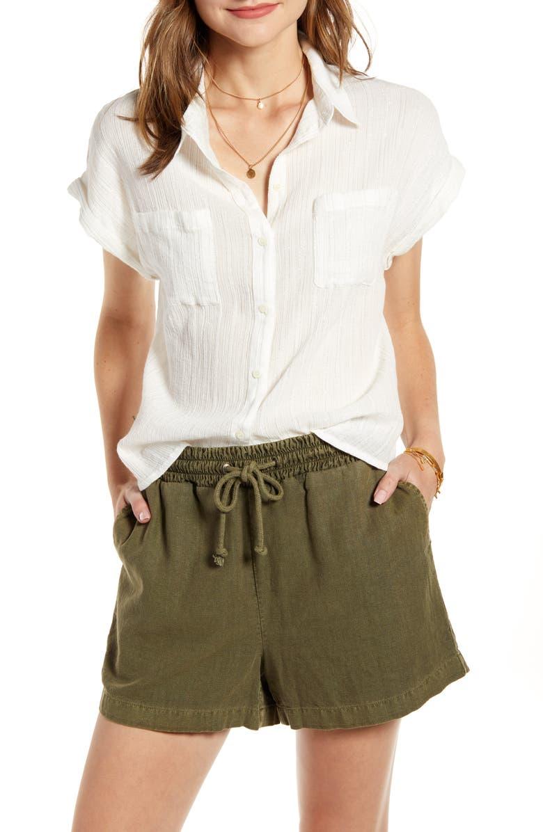 TREASURE & BOND Metallic Stripe Shrunken Cotton Camp Shirt, Main, color, WHITE- SILVER CARIBOU STRIPE