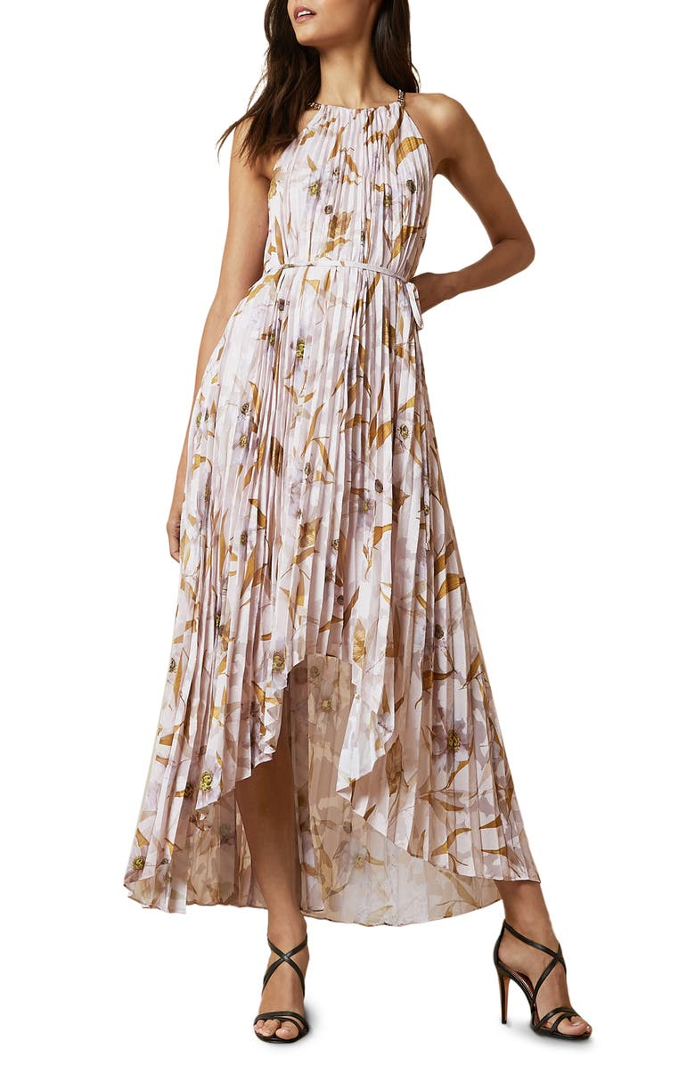 TED BAKER LONDON Dixie Cabana Pleated Maxi Dress, Main, color, LT-PINK