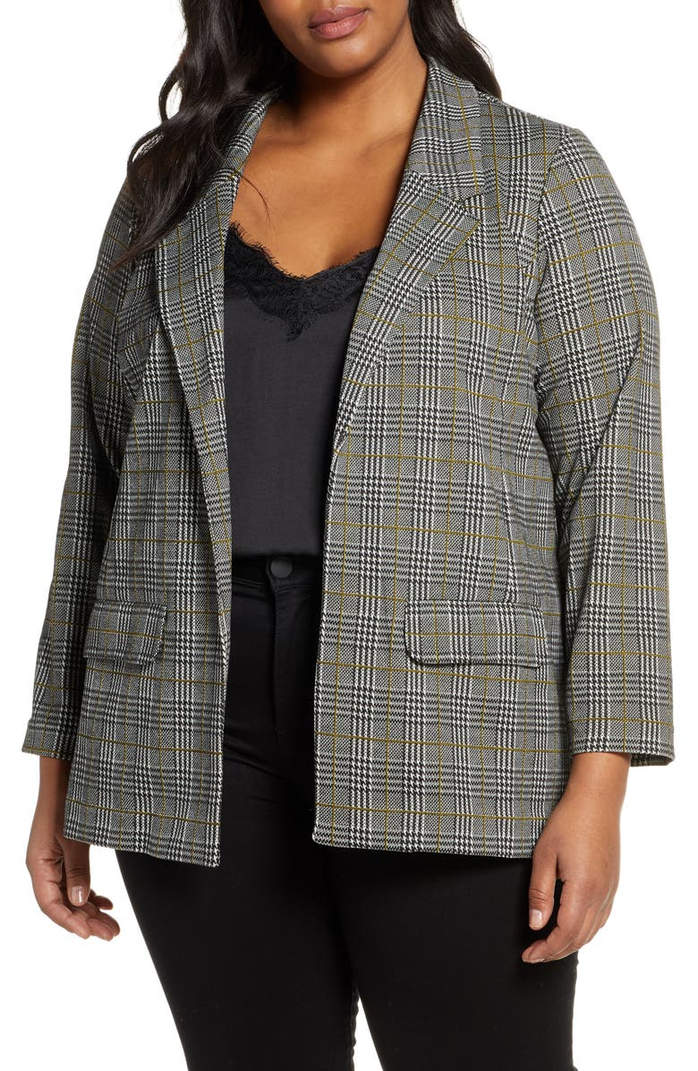 LIVERPOOL Plaid Boyfriend Blazer, Main, color, BLACK/ WHITE/ MUSTARD