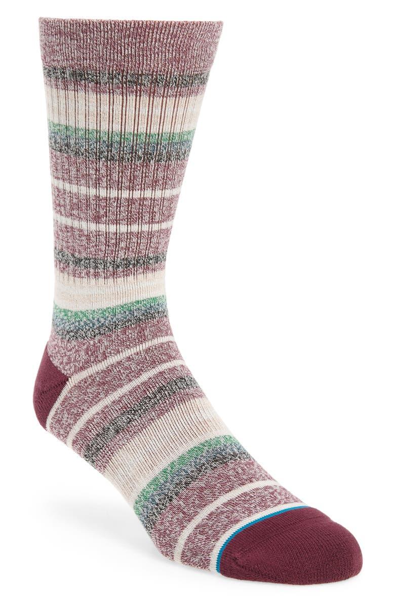 STANCE Thirri Crew Socks, Main, color, MAROON