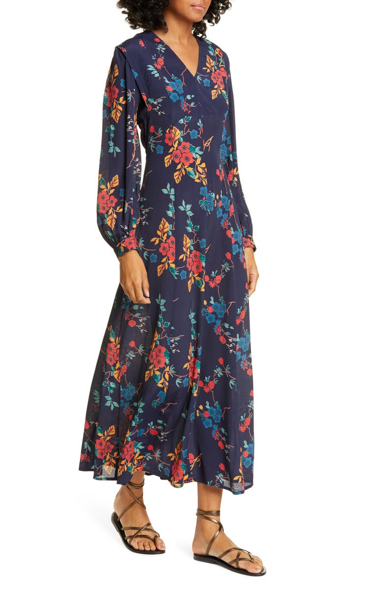 SEA Mari Floral Long Sleeve Dress, Main, color, BLUE