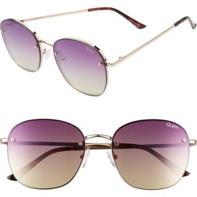 Quay Australia X Chrissy Teigen Jezabell 5m Rimless Aviator Sunglasses - Rose/ Purple Pink Yellow