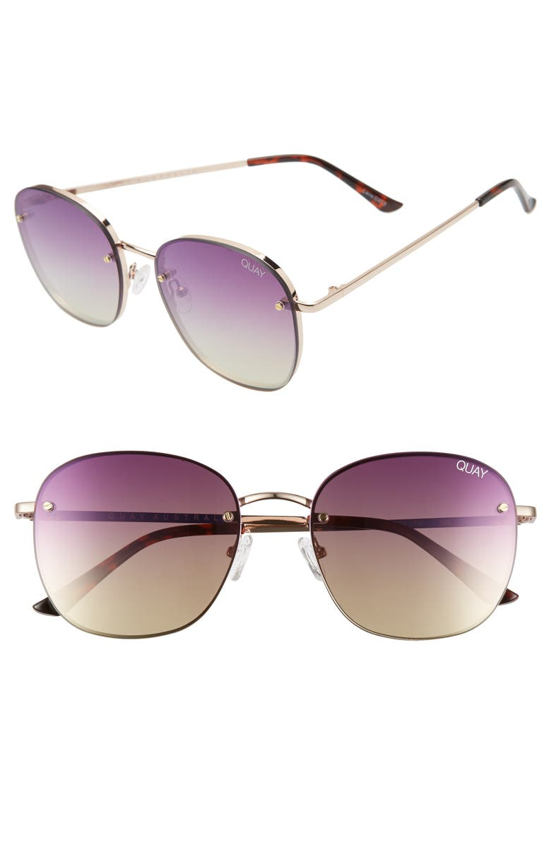 QUAY AUSTRALIA x Chrissy Teigen Jezabell 53mm Rimless Aviator Sunglasses, Main, color, ROSE/ PURPLE PINK YELLOW