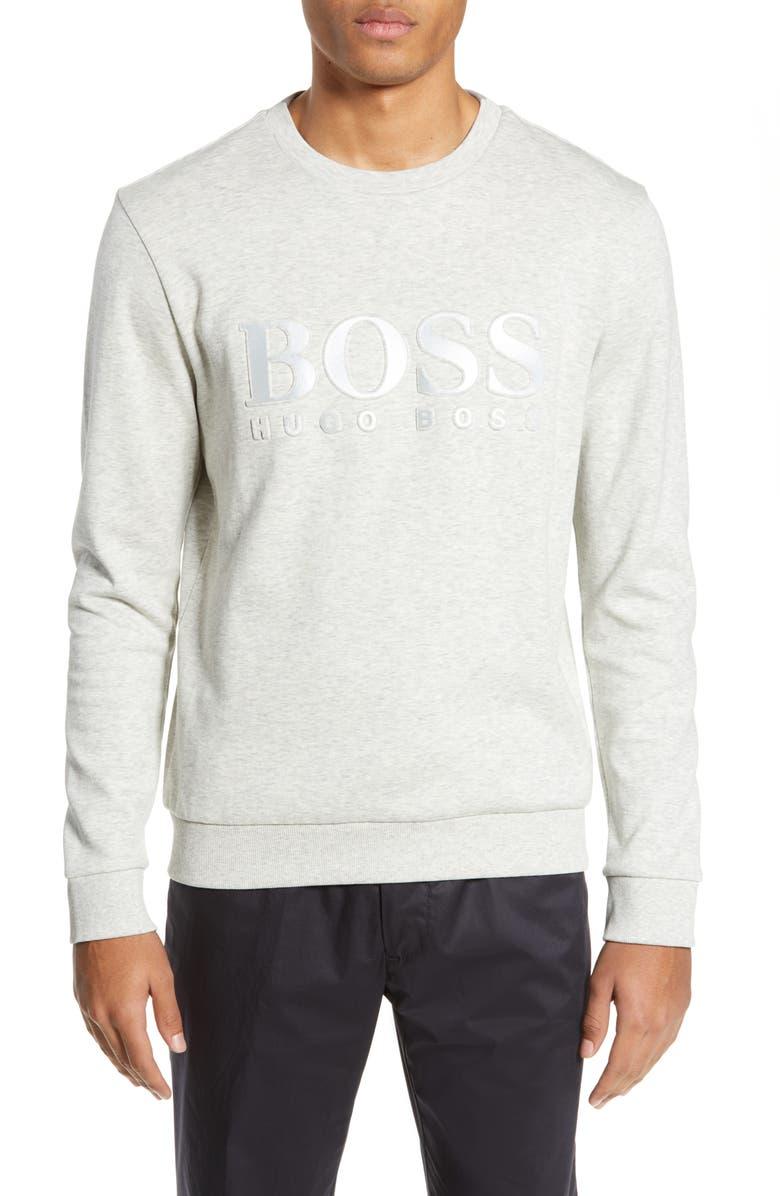 BOSS Salbo Slim Fit Logo Sweatshirt, Main, color, 057