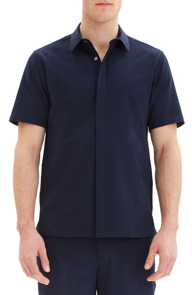 THEORY Irving Slim Fit Short Sleeve Button-Up Seersucker Shirt, Main, color, ECLIPSE