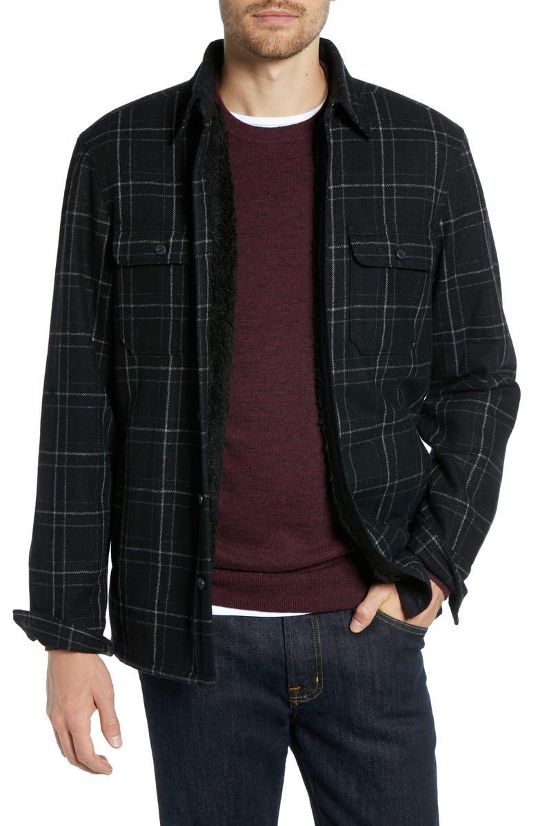 1901 Plaid Faux Fur Lined Shirt Jacket, Main, color, 001