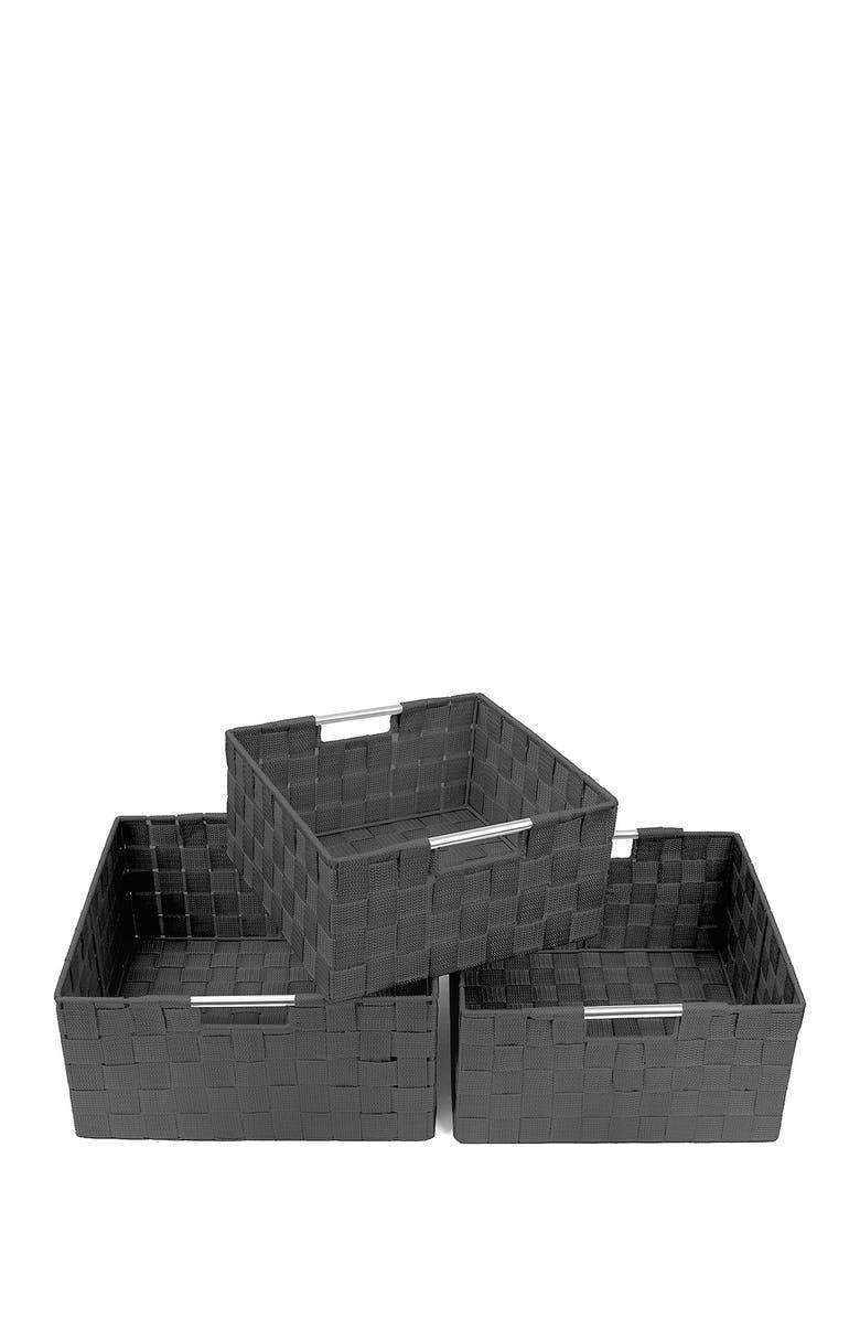 SORBUS Gray Woven 3-Piece Basket Set, Main, color, GRAY