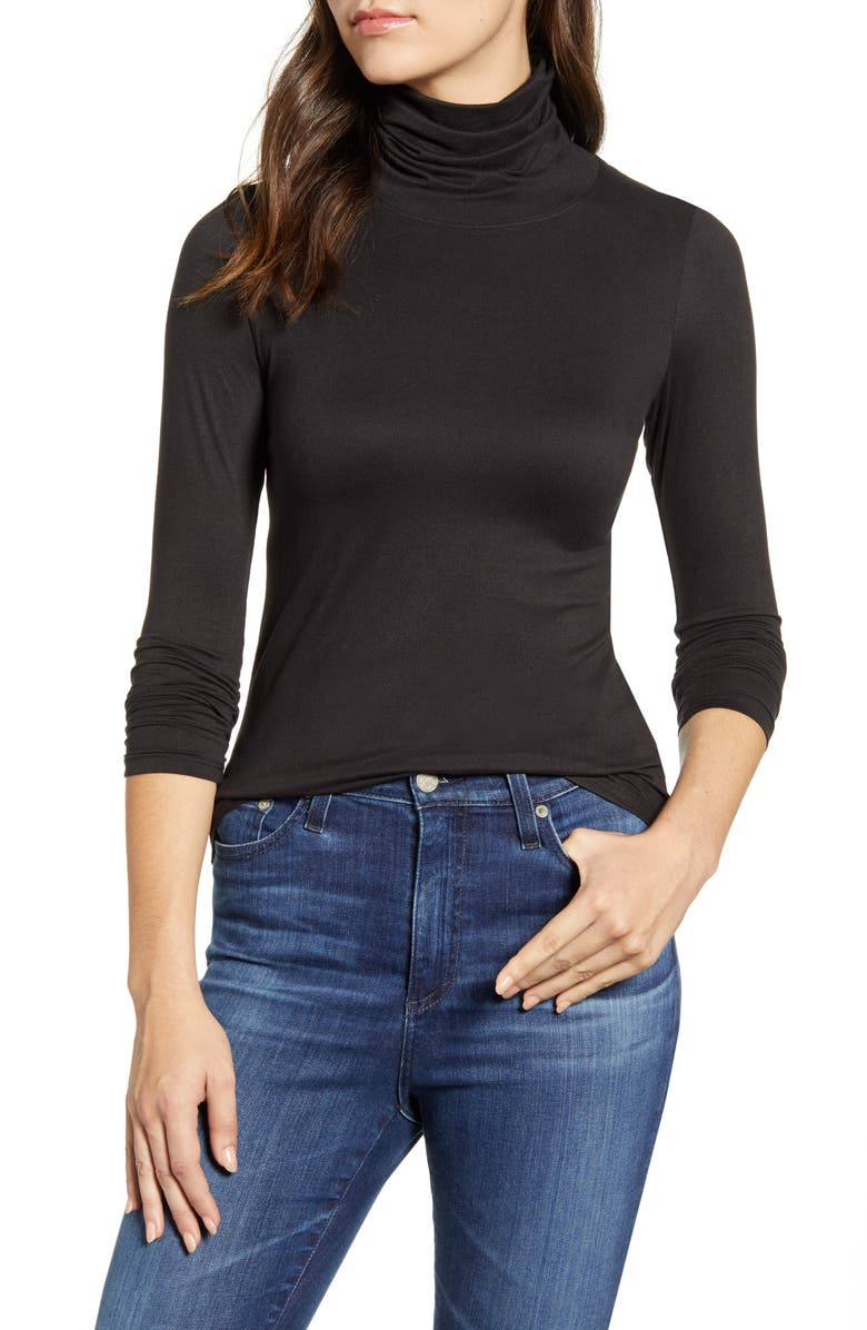 BOBEAU Butter Turtleneck Top, Main, color, 001