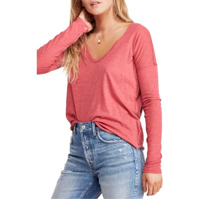 Free People Sienna Snap Cuff Cotton Blend Tee, Red