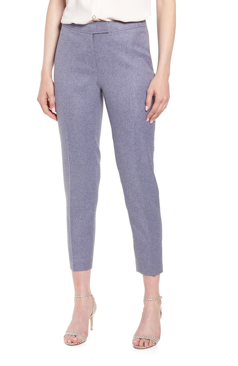 ANNE KLEIN Crop Heather Twill Pants, Main, color, DENIM HEATHER