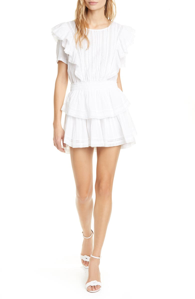 LOVESHACKFANCY Natasha Ruffle Tiered Minidress, Main, color, WHITE