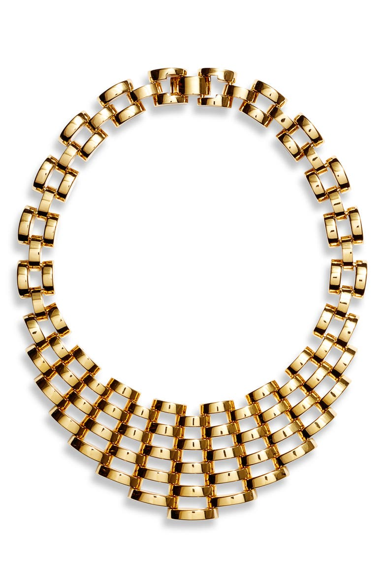 KATE SPADE NEW YORK sliced scallops statement necklace, Main, color, GOLD
