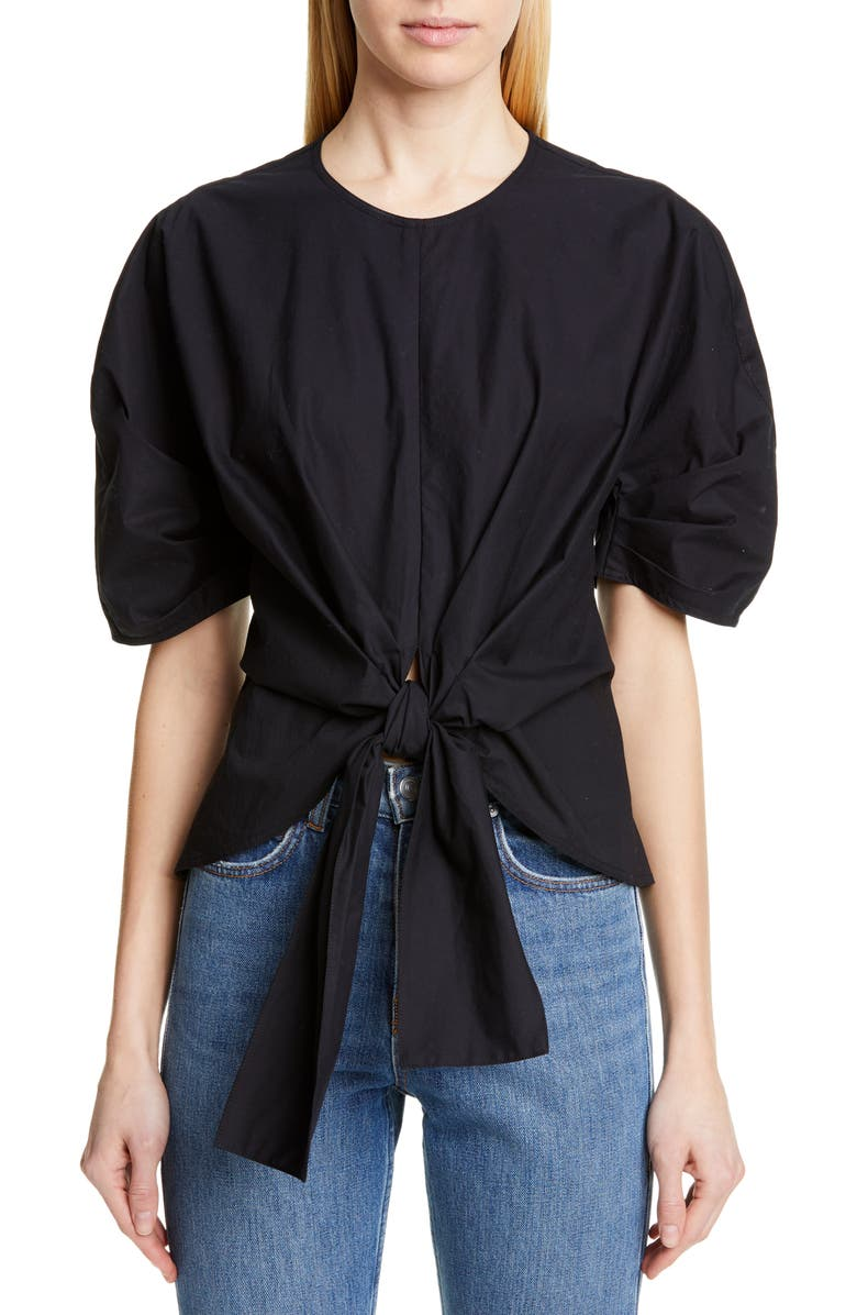 PROENZA SCHOULER Tie Front Top, Main, color, BLACK