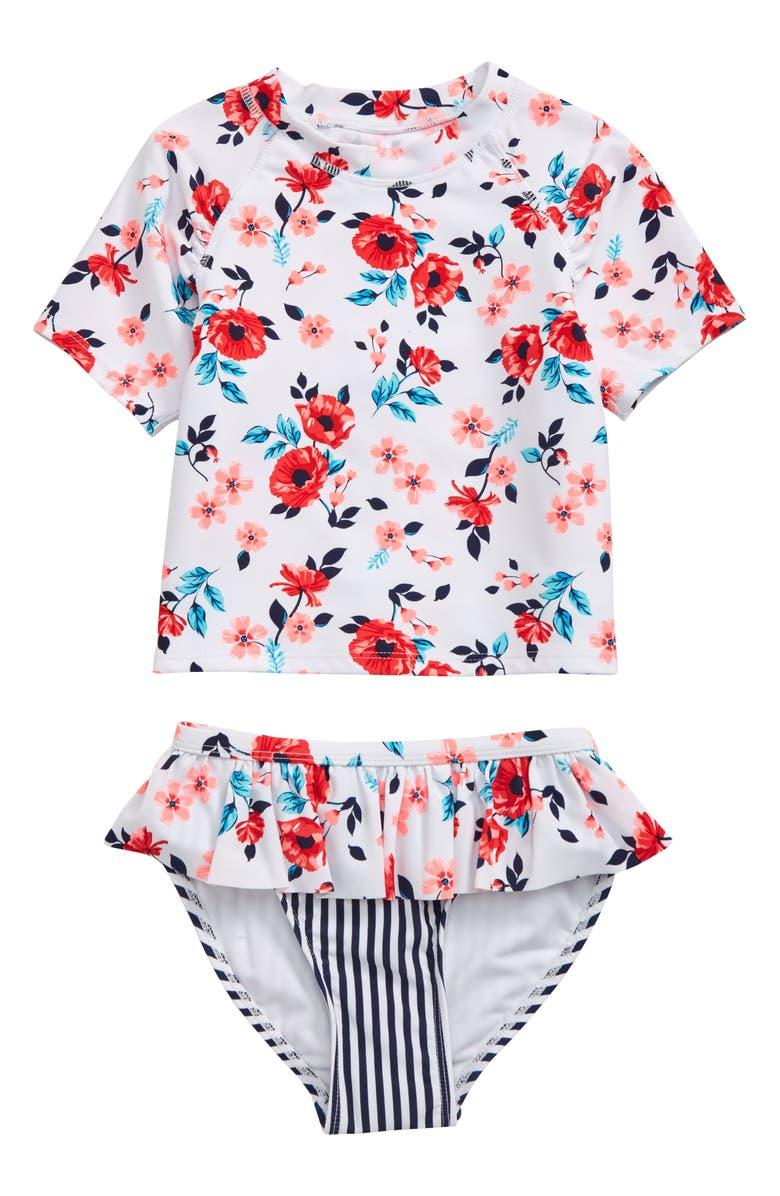 FLAPDOODLES Seaside Garden Two-Piece Rashguard Swimsuit, Main, color, 100