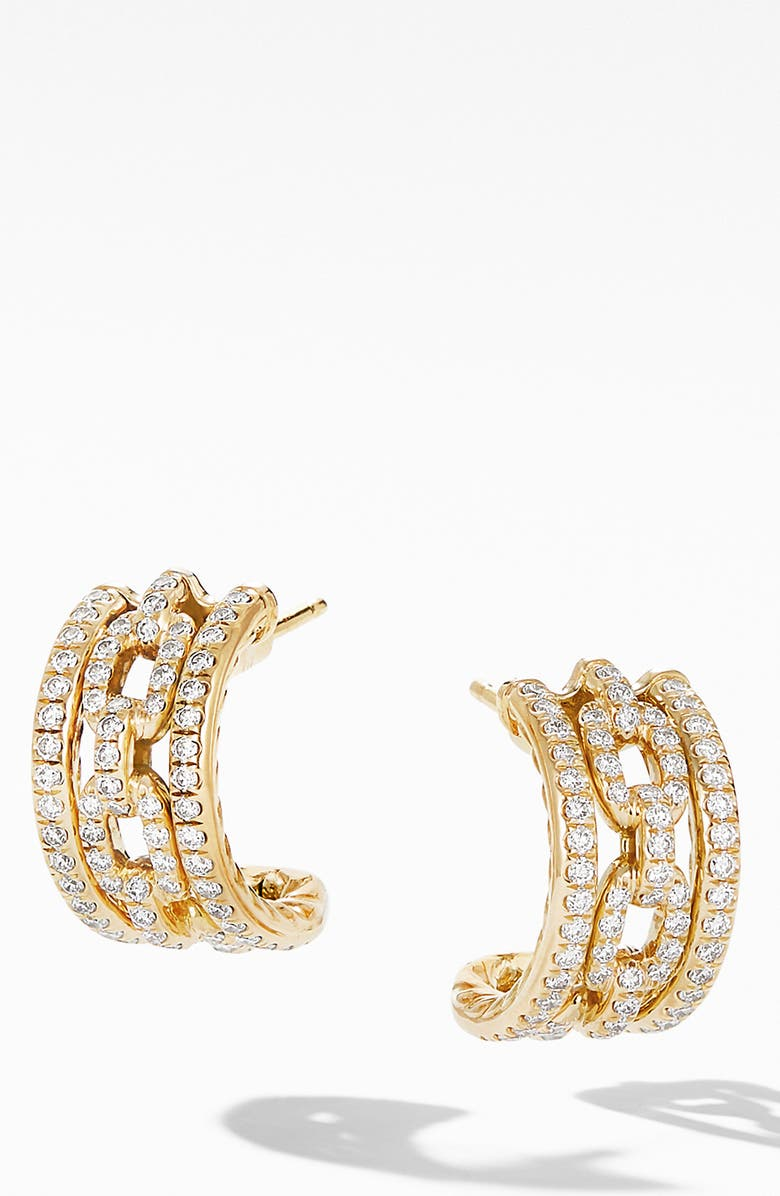 DAVID YURMAN Stax Chain Link & Pavé 18k Yellow Gold Huggie Hoop Earrings, Main, color, YELLOW GOLD/ DIAMOND