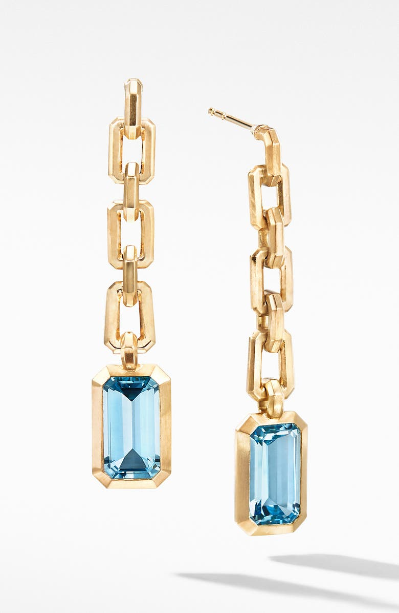 DAVID YURMAN Novella Chain Drop Earrings in 18K Yellow Gold, Main, color, SKY BLUE TOPAZ