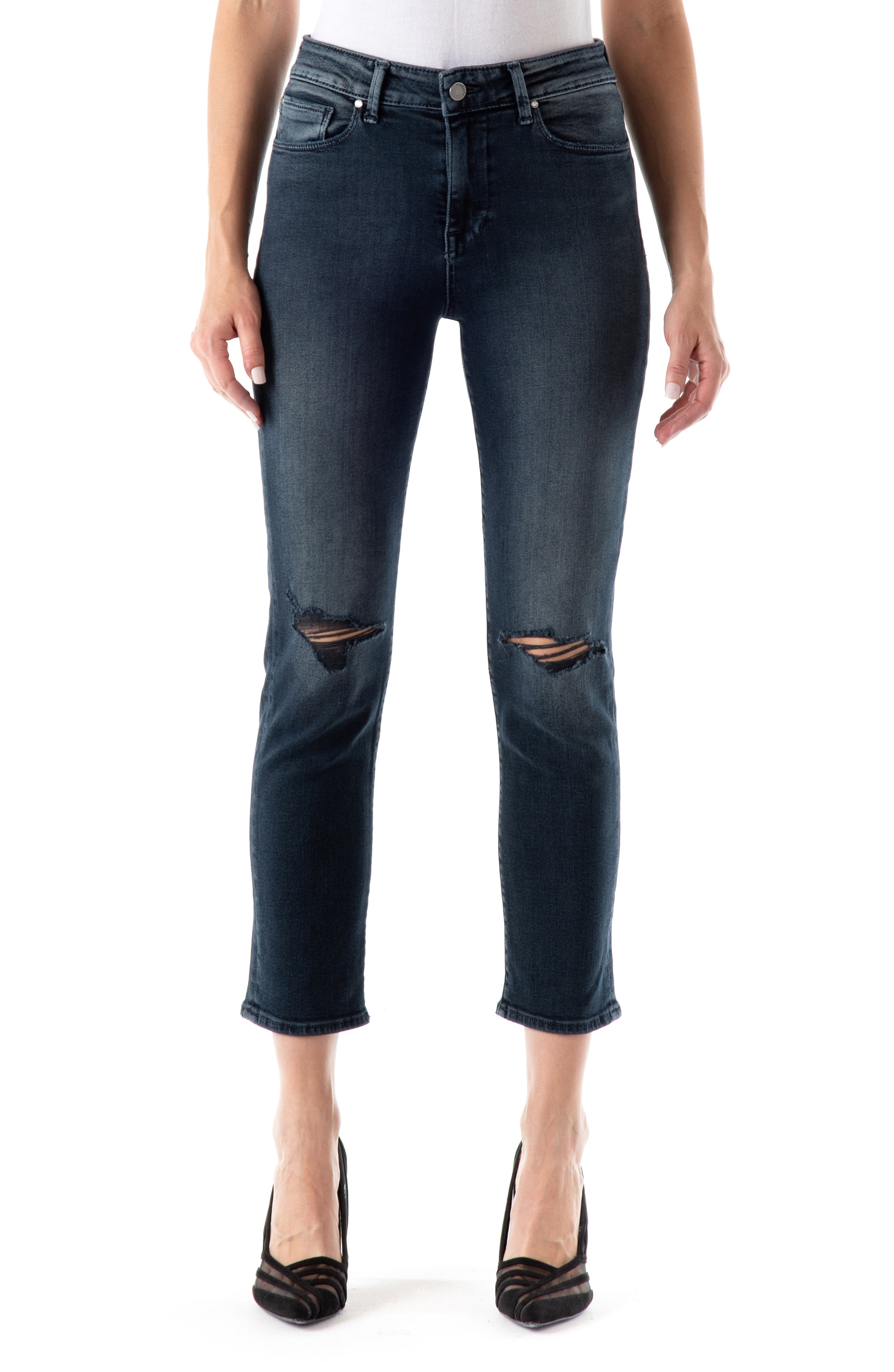 Cher High Waist Ankle Slim Straight Leg Jeans