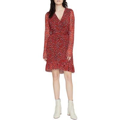 Sanctuary Emma Print Long Sleeve Wrap Dress, Red