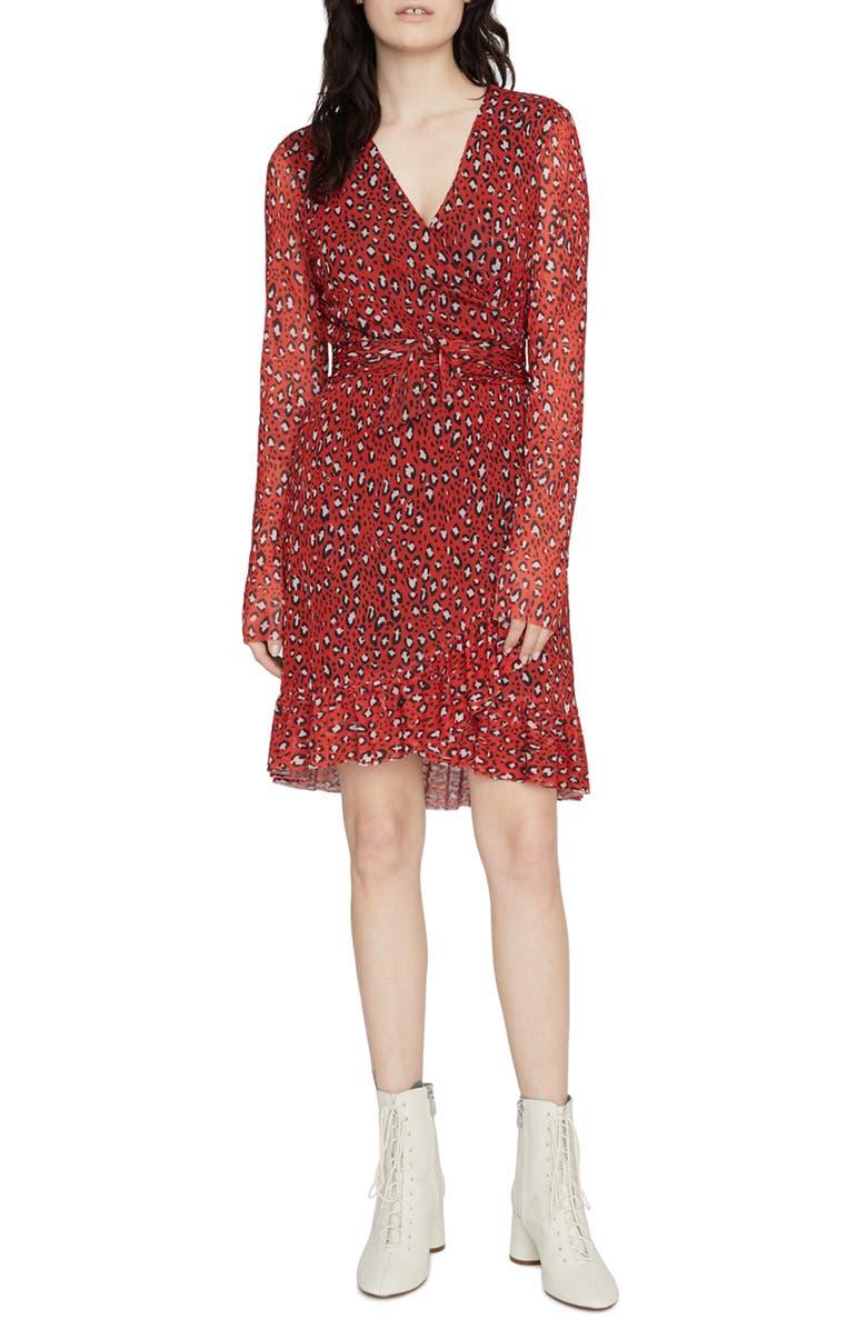 SANCTUARY Emma Print Long Sleeve Wrap Dress, Main, color, RED LEOPARD