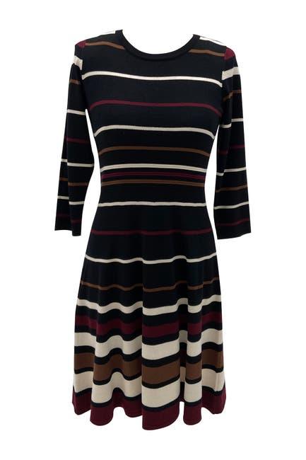 Image of Sandra Darren 3/4 Sleeve Fit & Flare Printed Stripe Sweater Knit Dress