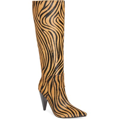 Jeffrey Campbell Labyrinth Genuine Calf Hair Knee High Boot, Brown