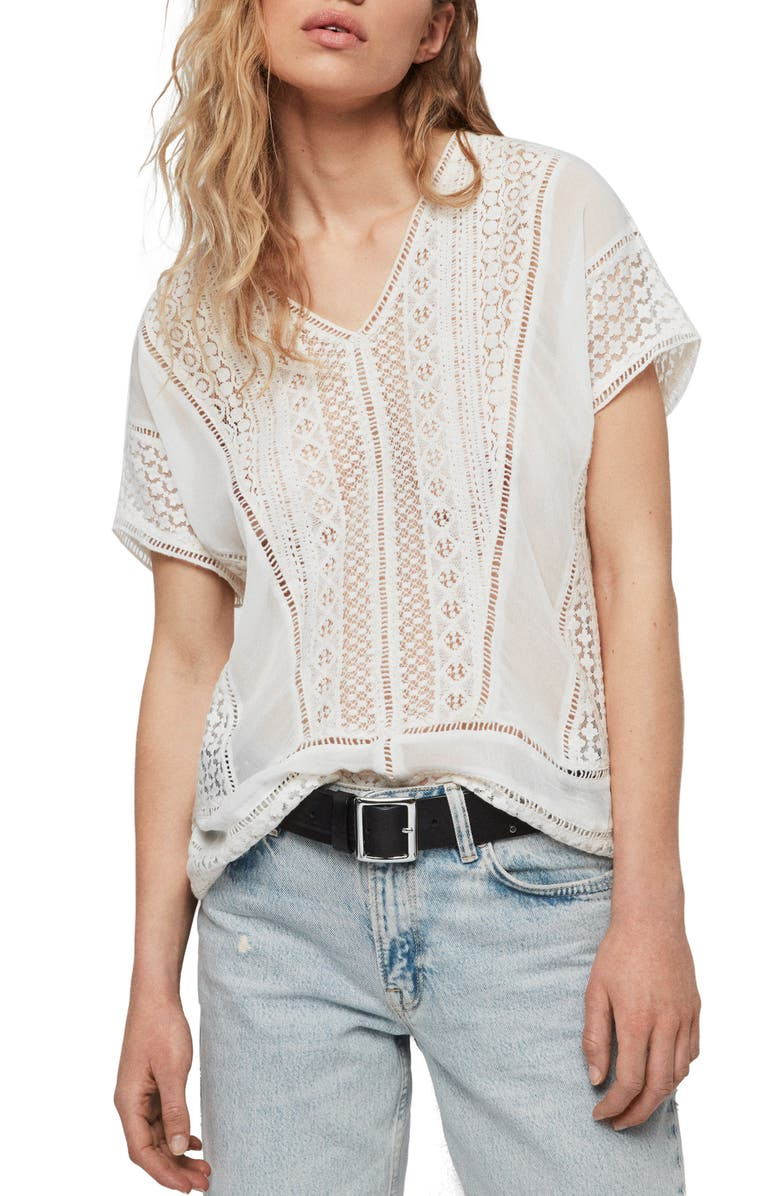 ALLSAINTS Cindi Lace Top, Main, color, OYSTER WHITE