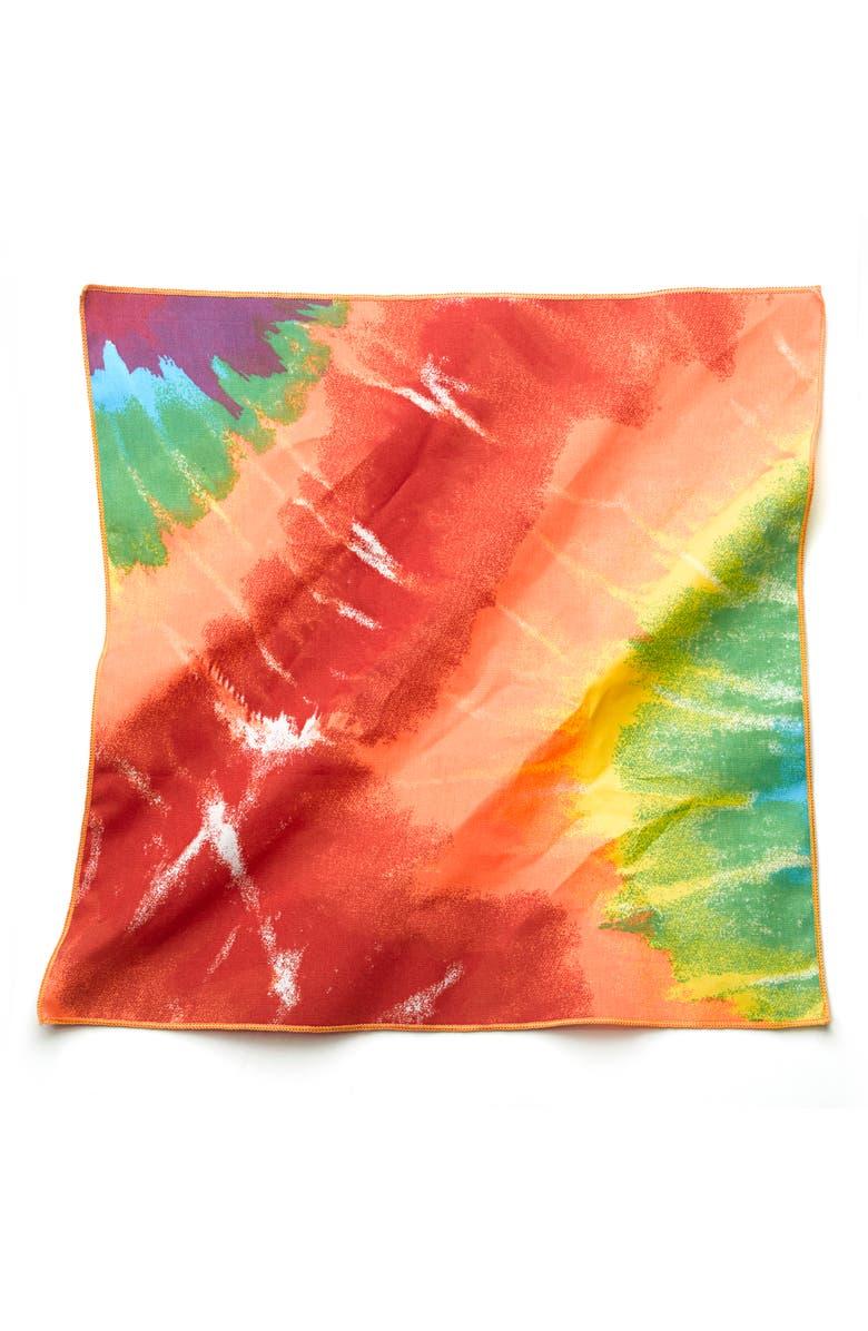 LOVETHYBEAST Rainbow Tie Dye Cotton Bandana, Main, color, RAINBOW