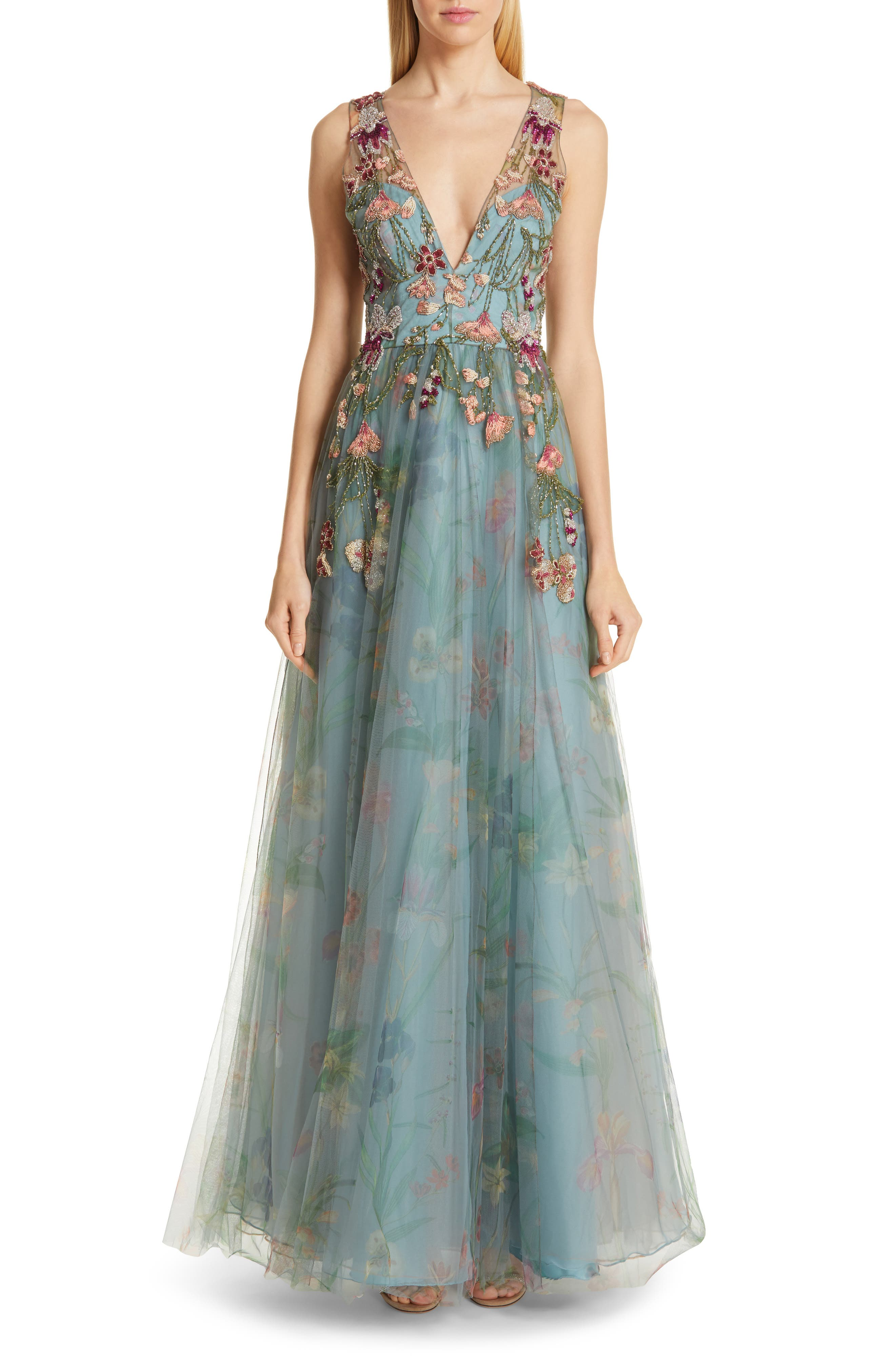 Patbo Beaded Floral Print Tulle Ballgown, 8 BR - Green