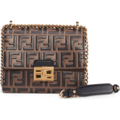 Fendi Small Kan I Logo Leather Shoulder Bag - Black