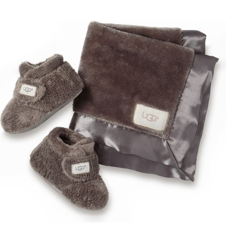 UGG<SUP>®</SUP> Bixbee Booties & Lovey Blanket Set, Main, color, CHARCOAL
