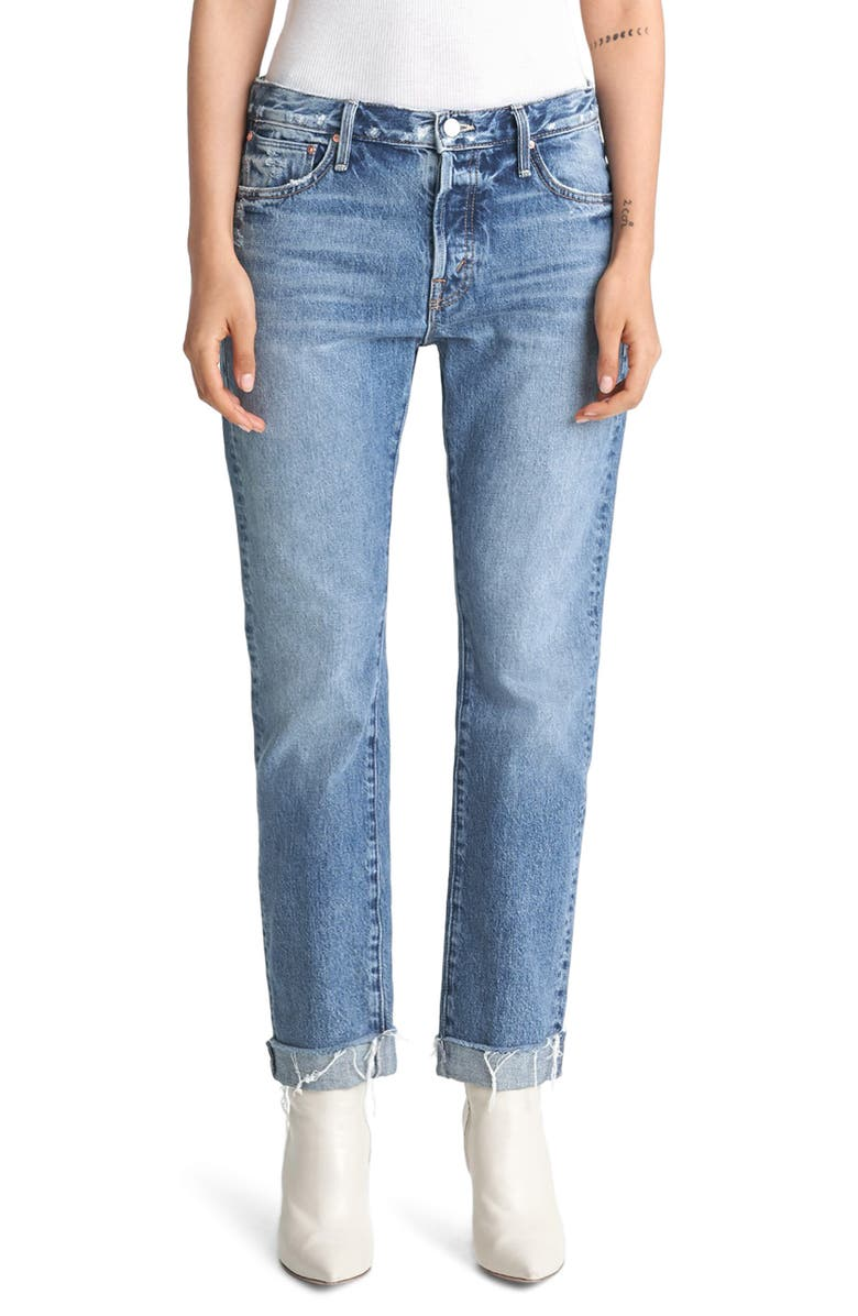 MOTHER The Scrapper High Waist Frayed Cuff Ankle Jeans, Main, color, TAKE ME HIGHER
