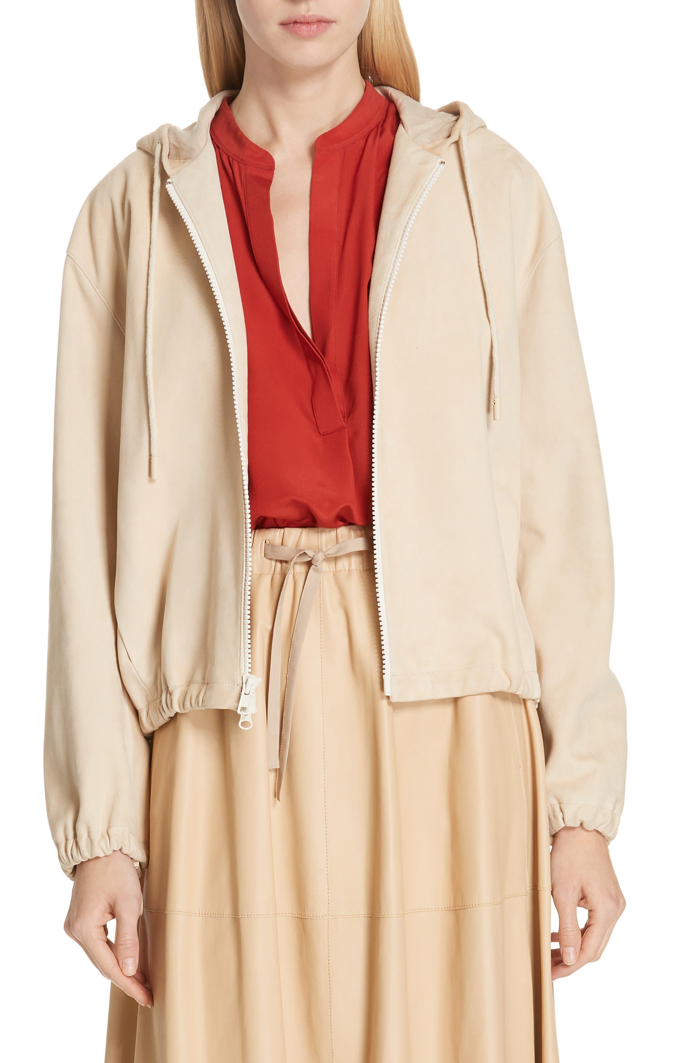 Suede Zip Hooded Jacket, Main, color, FENNEL