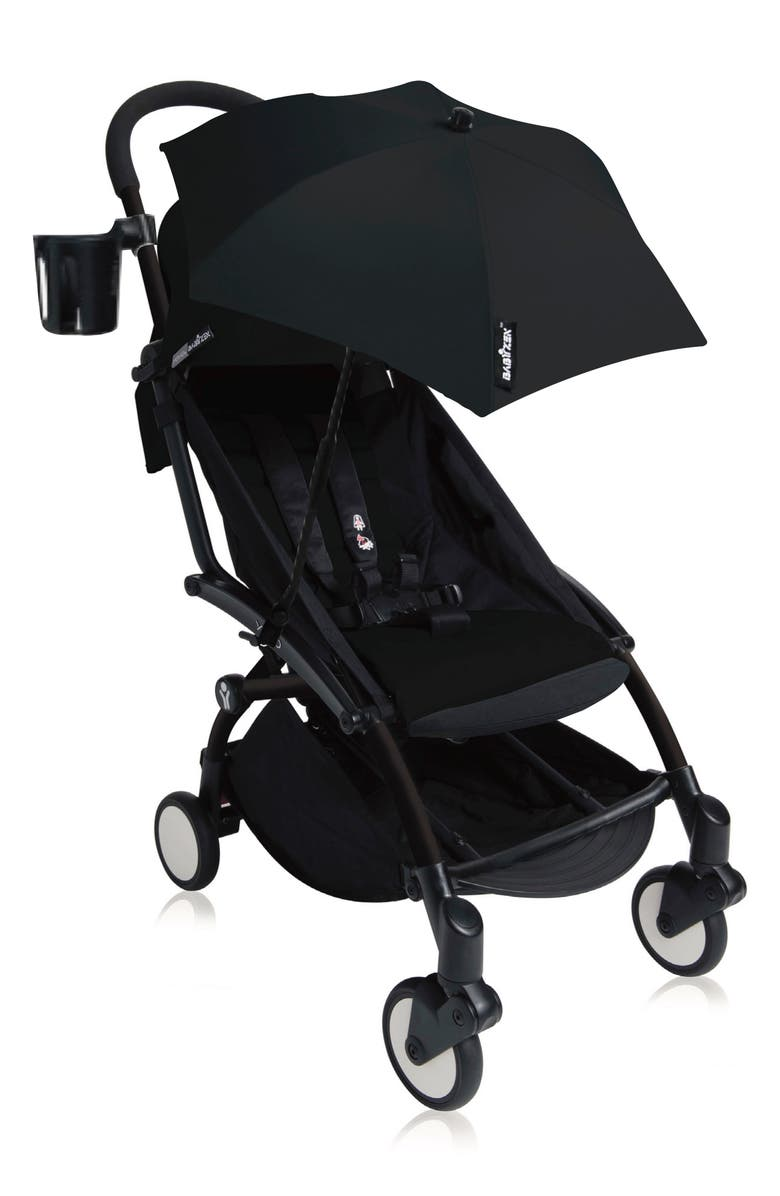 BABYZEN<SUP>™</SUP> YOYO+ Complete Stroller with Black Parasol, Cupholder & Foot Rest, Main, color, BLACK/ BLACK FRAME