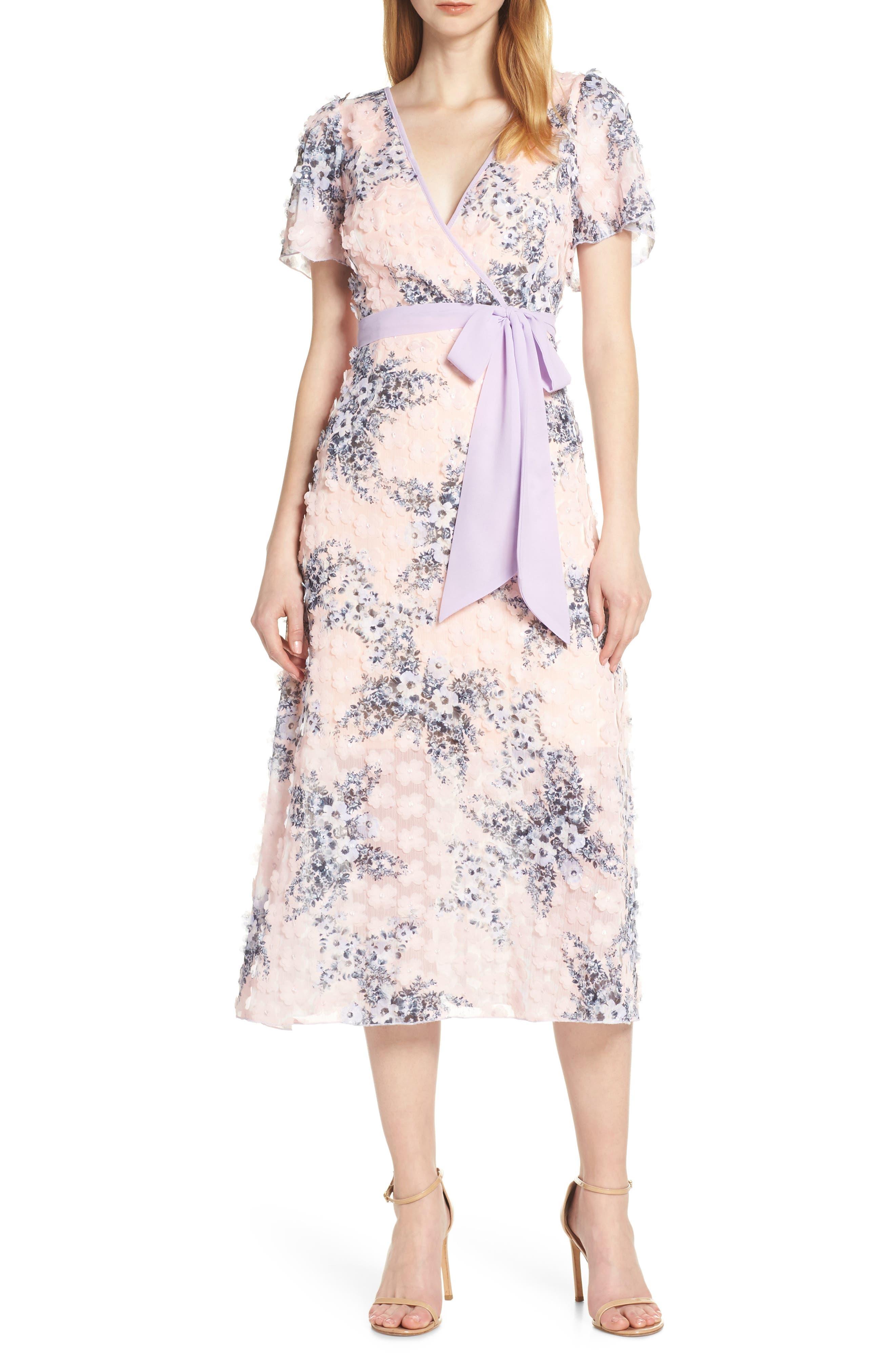 Foxiedox Naima 3D Floral Tea Length Dress, Pink