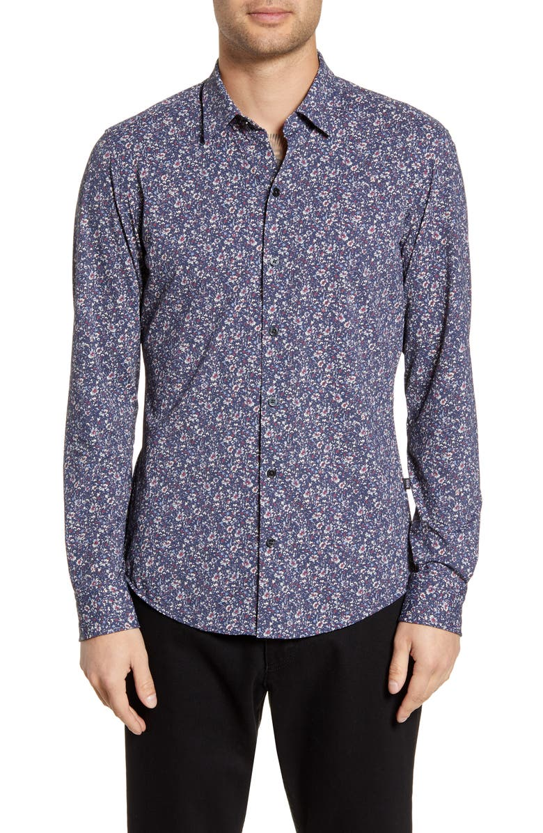 BOSS Robbie Sharp Fit Floral Print Stretch Button-Up Sport Shirt, Main, color, MULTI