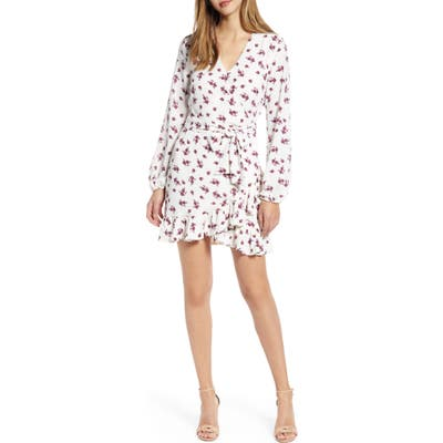 1.state Printed Long Sleeve Minidress, White